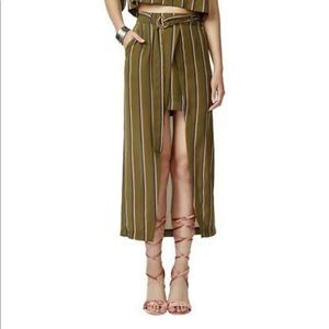 JOA Olive Striped High-Low Crepe Wrap